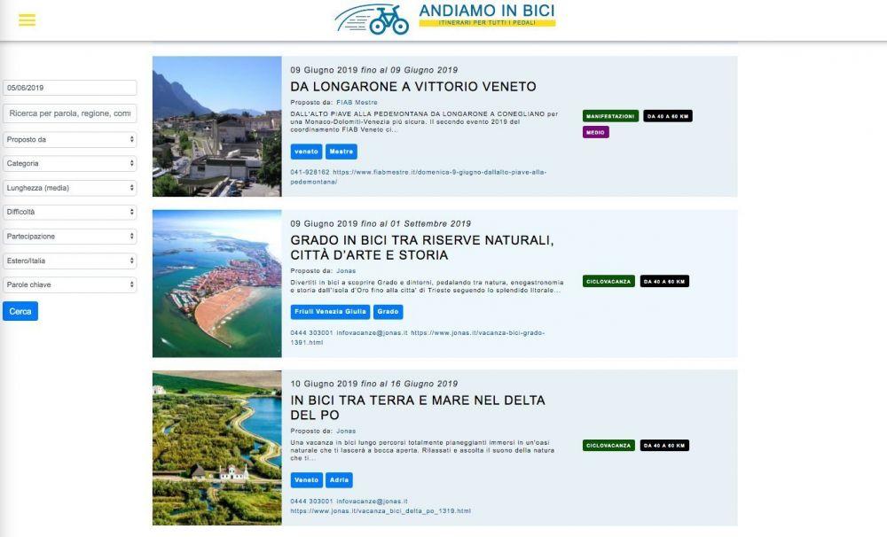 Le gite proposte dal portale FIAB Andiamo in bici