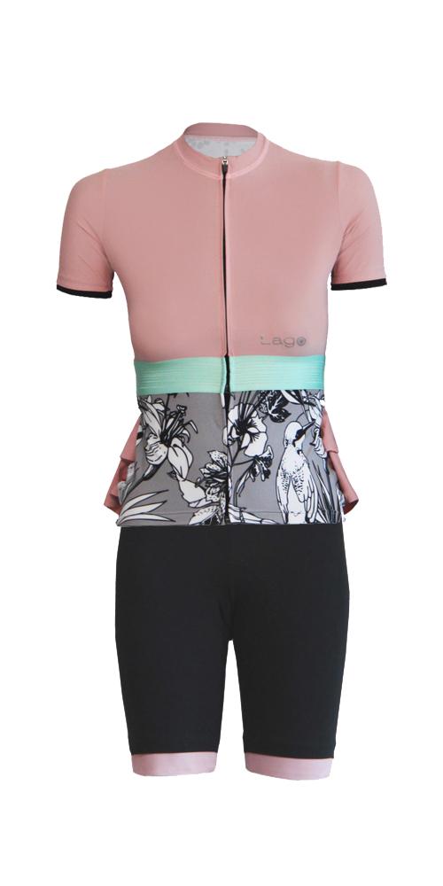Completo da bici Lago maglia e pantaloncini da donna rosa e grigio