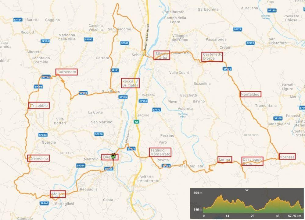 Mappa del giro dei castelli di Raffaella di Giringiro